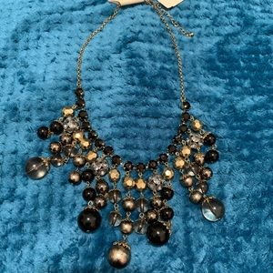 NWT Erica Lyons Black/Gold Statement Necklace